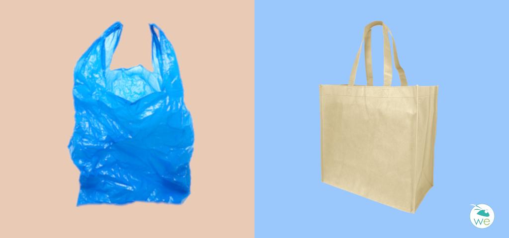 foto bolsa de plástico y de papel